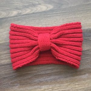 Red Bow Knit Head Band
